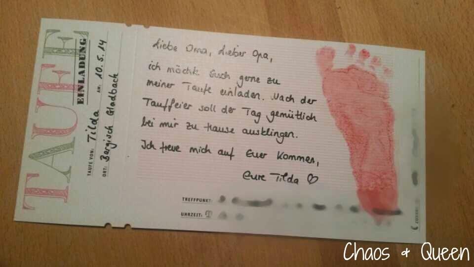 die taufe - einladungskarten (mehr oder weniger) diy – chaos & queen, Einladung