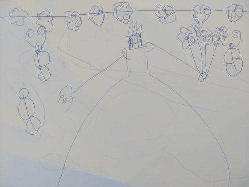 Kinderzeichnung Brautkleid