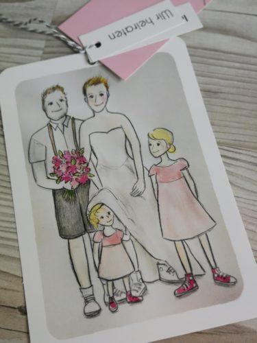 Zeichnung Hochzeitseinladung